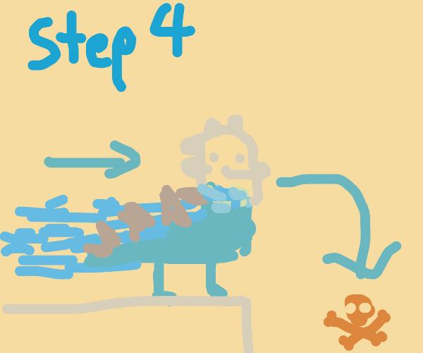 Step 3: glue head on dinosaur