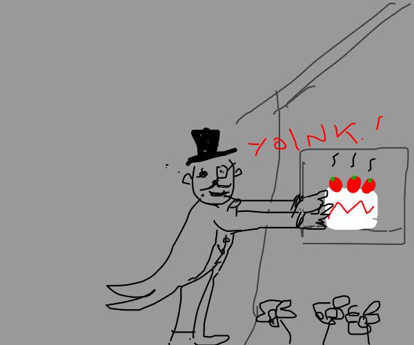 A Gentleman Steals Strawberry Cake