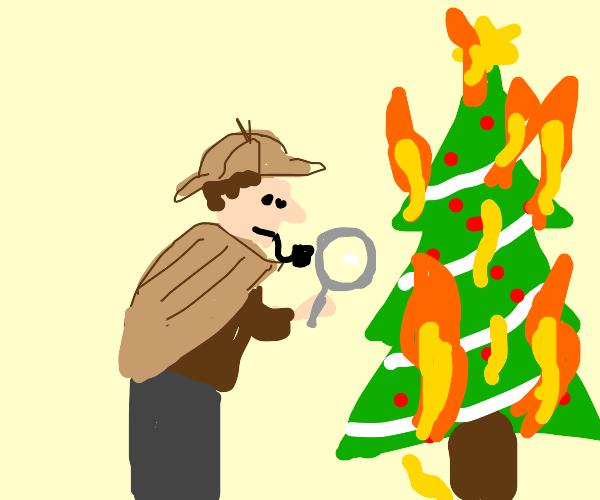 person examines burning Xmas tree, suspicious