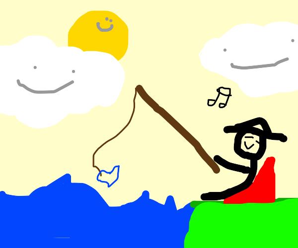 A fishing dude just vibin