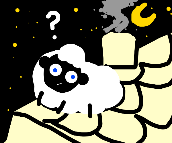 Sheep on rooftop seems confused