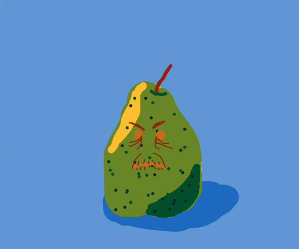 old and angry pear
