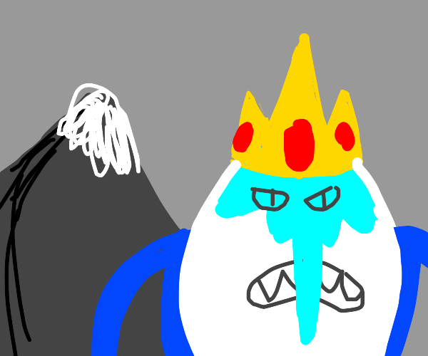 ice king with a huge ice hand by a mountain