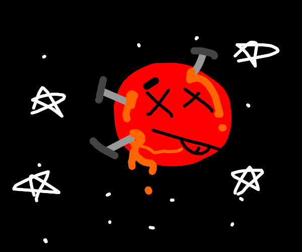 Mars getting stabbed by thumbtacks
