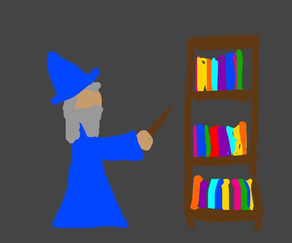 Wizard casting spell at a bookshelf