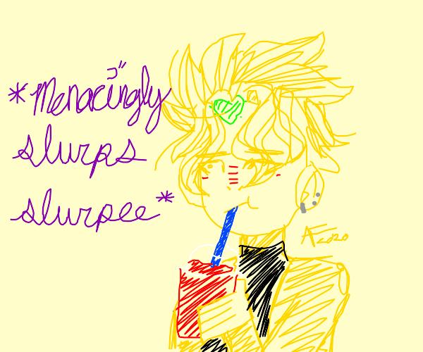 dio drinking a slurpee