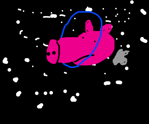 A pig head as a ringed planet