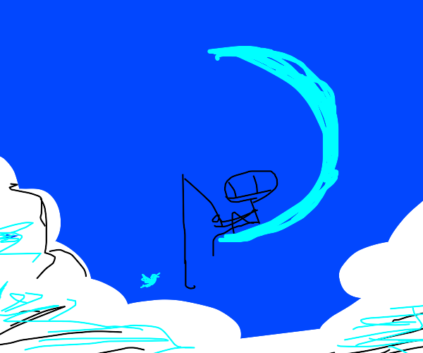 Stickman fishing for a blue birb