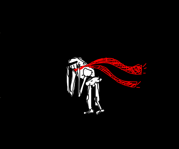 man with white armour and red scarf is sad