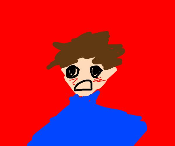 Panicked blushing anime boy