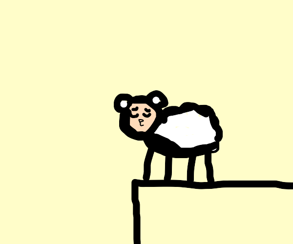 Sheep About To Jump Off Roof