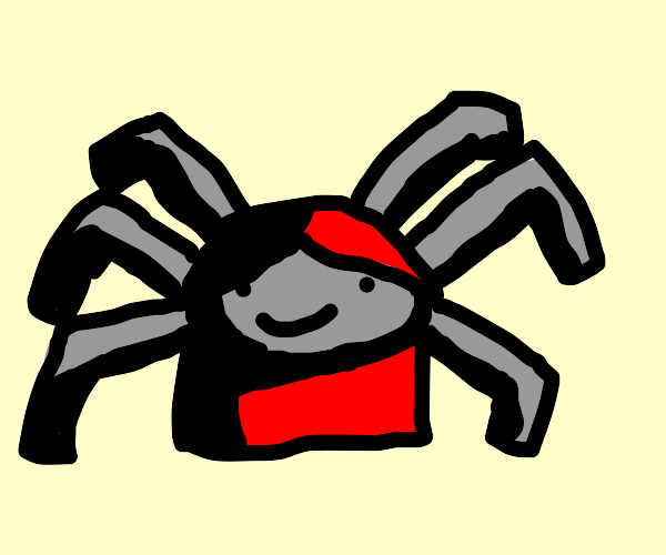 happy gray spider with red hair