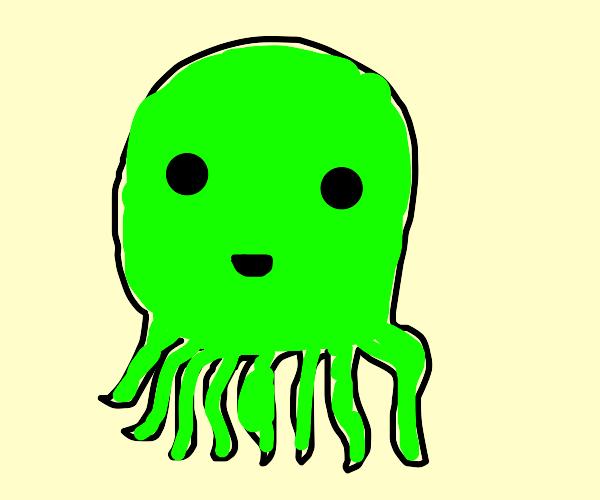Cute Little Green Octopus