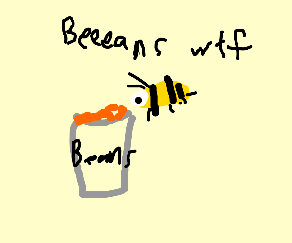 bee smelling a can of beans