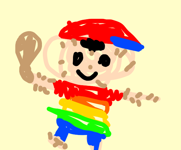 A hairy Ness with a rainbow shirt