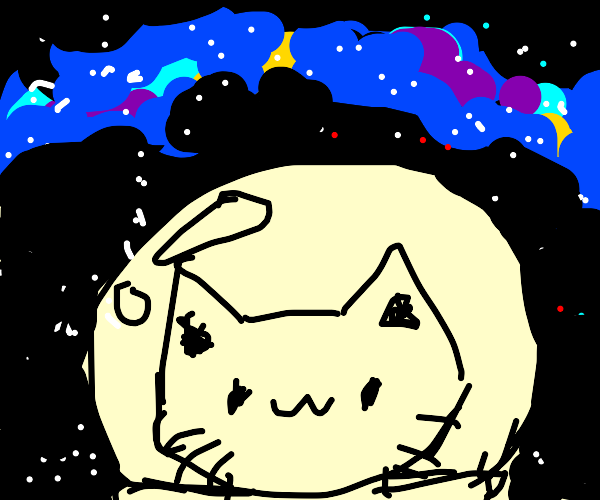 cat with the dome of a space suit on