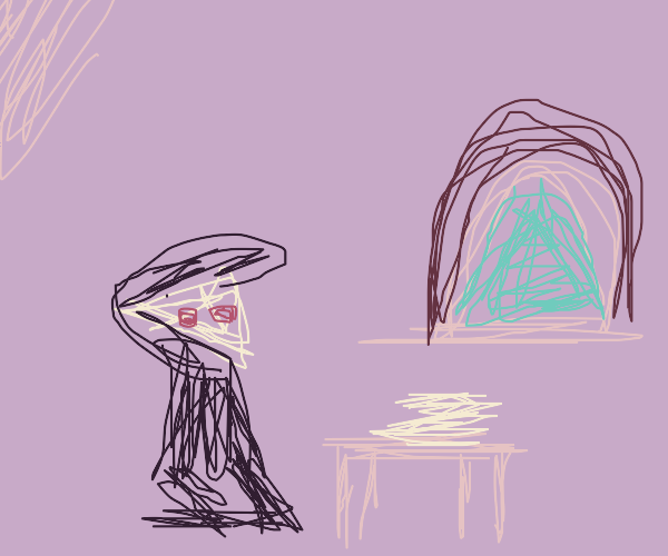 Cheese boy sits by round window in pink room