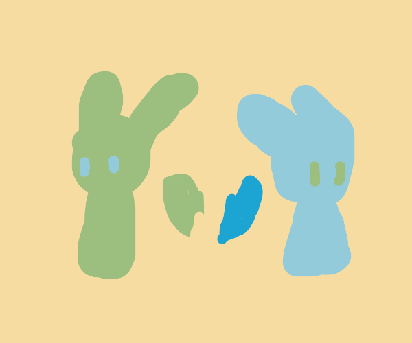 Green and blue bunny break up