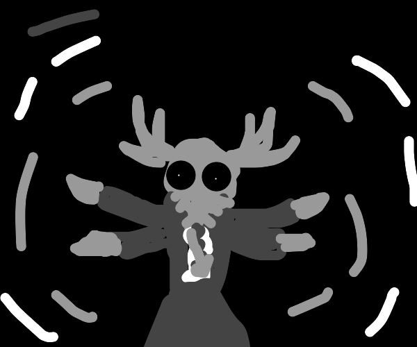 three headed four armed god with antlers