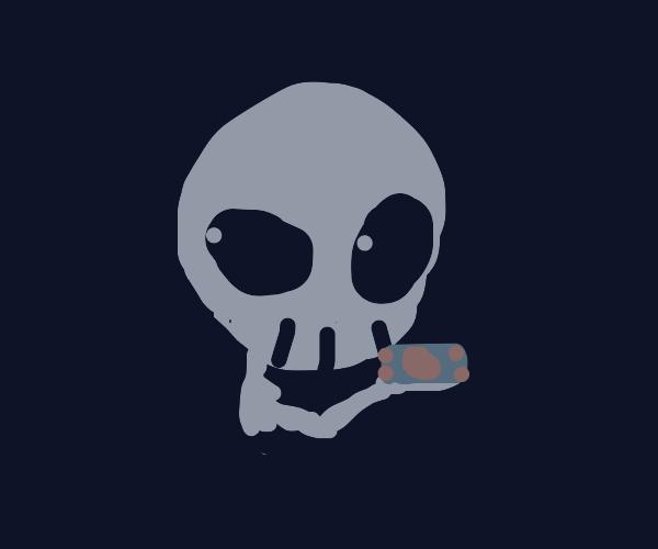 Skeleton found some treasure (money)