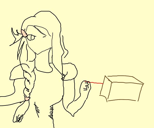 anime girl walking her pet box