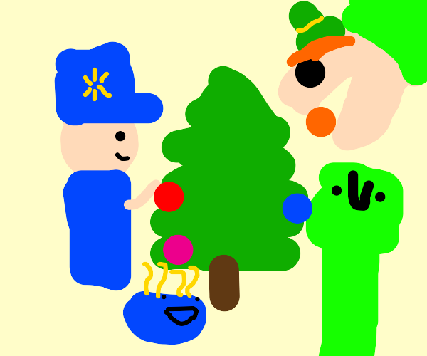 A family decorating a tree