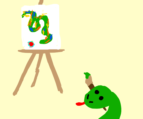 snake painting an abstract game of snake