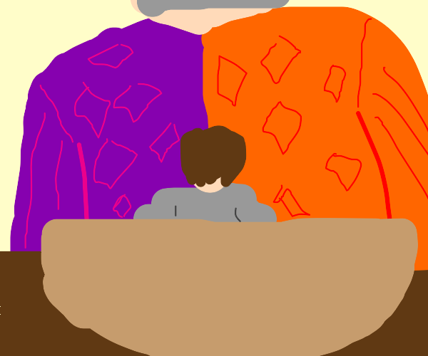 Small man in a bowl