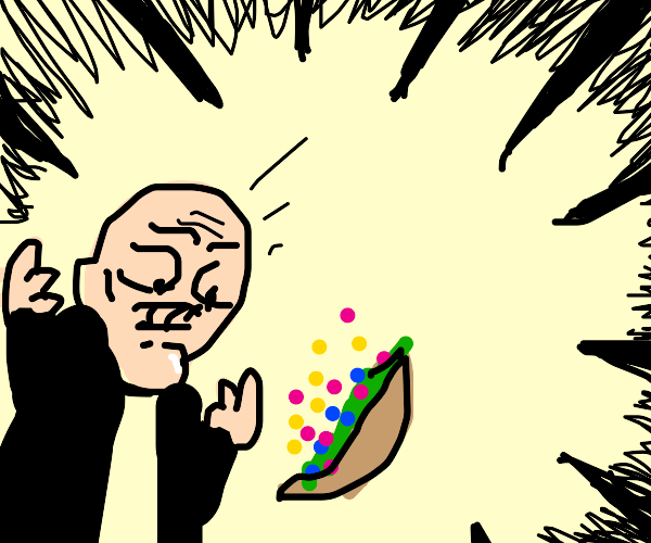 Man upset his taco has rainbow sprinkles