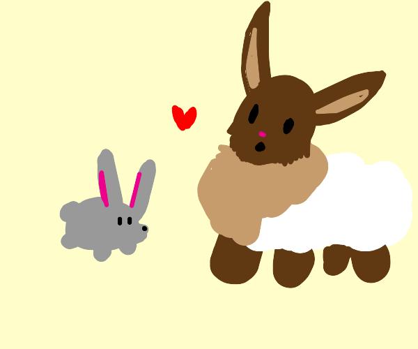 Eevie wearing a cloud loves a bunny