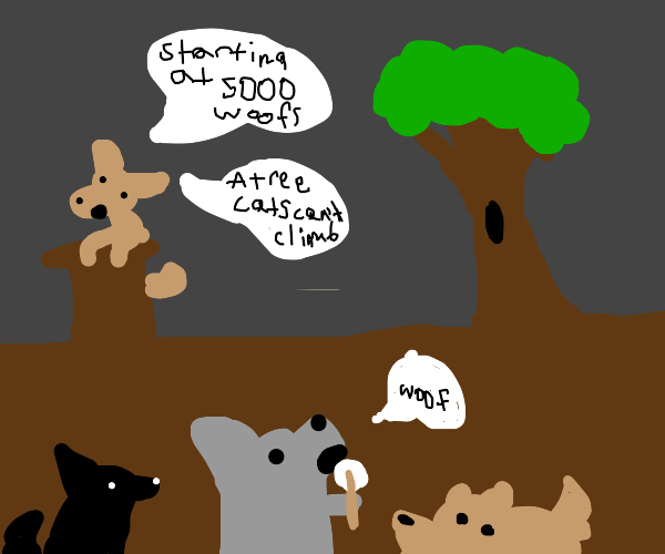 Doggy auctioning a Tree