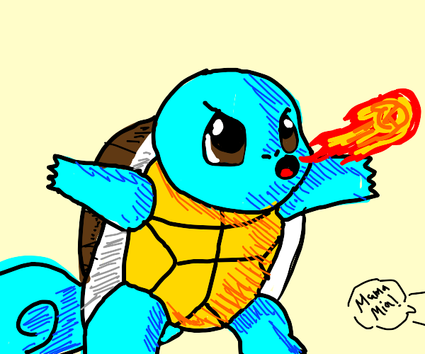 Squirtle puts out Mario's fireball