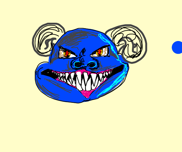 an angry smiling blue demon