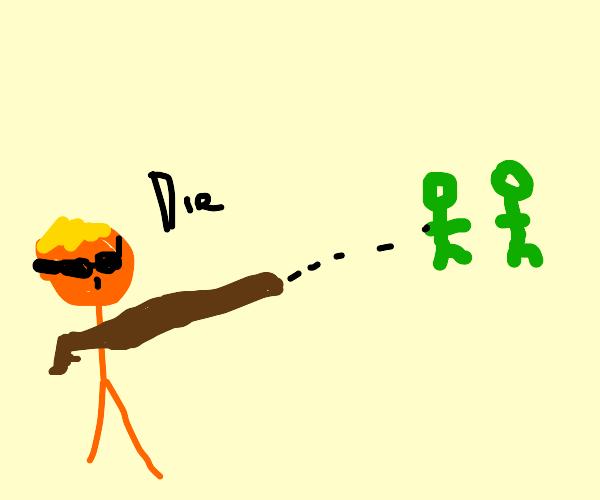 Man killing green people