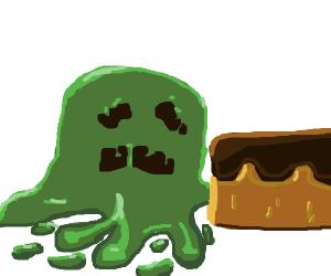 A slime wants chocolate cake