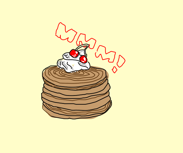 pancakes with whipped cream and cherry
