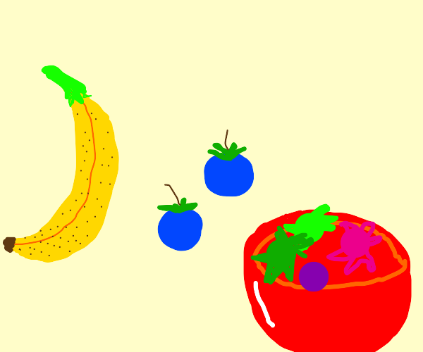 a banana, two blueberries and a bowl of candy
