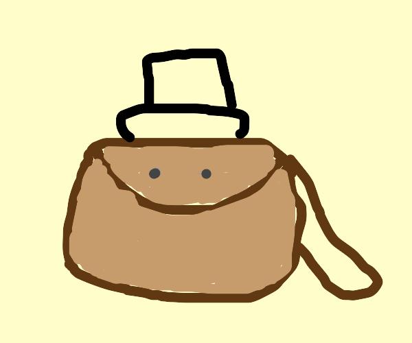 Purse wearing a Hat