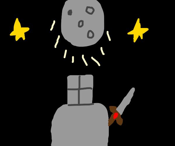 knight stares at moon