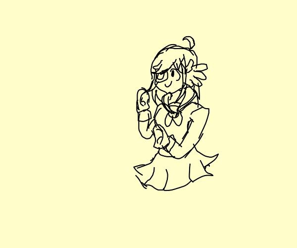 Kawai anime waifu with hands as ears