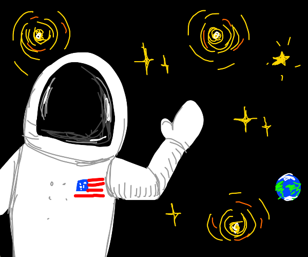 Astronaut wish shiny stars in the background