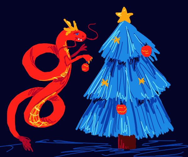 Red Shenlong Decorating Christmas tree