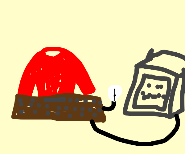 Person a red sweater hacking a Computer