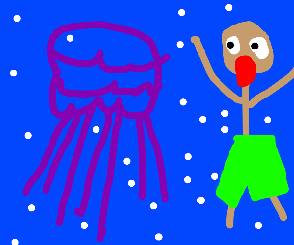 Purple jellyfish and dude in ocean
