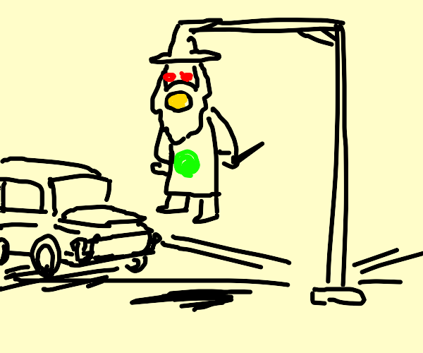 Wizard taking the place of a traffic light