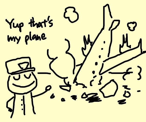 pilot proudly shows his crashed plane