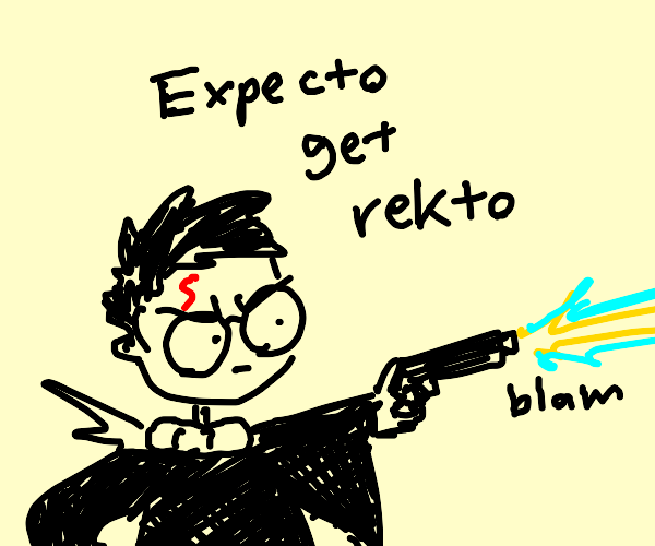 Harry Potter uses the ultimate magic: Gun