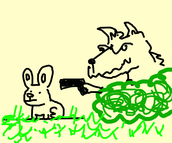 Wild wolf hunting a rabbit