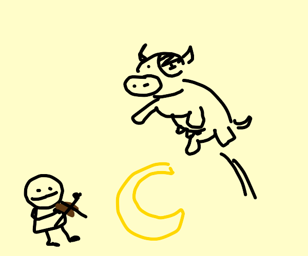 A cow hearing violin jumps over the moon