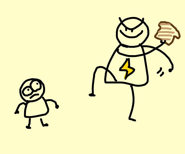 Big bad lightning boy prepares to toss bread